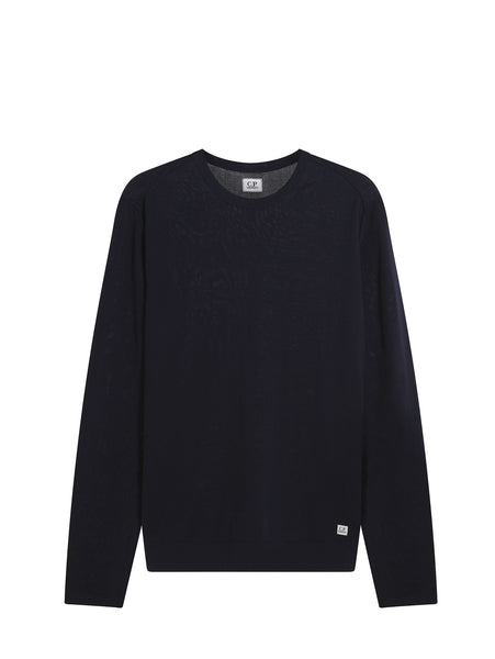 C.P. Company Cotton Crew Neck Sweater in Navy