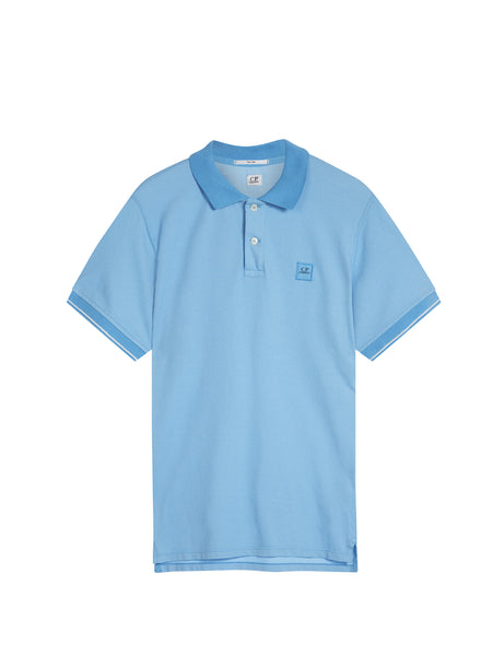 C.P. Company Regular Fit Contrast SS Polo Shirt in Light Blue