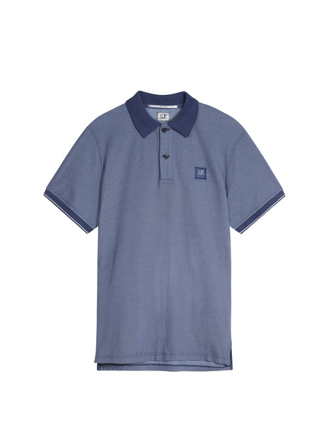 C.P. Company Regular Fit Contrast SS Polo Shirt in Blue