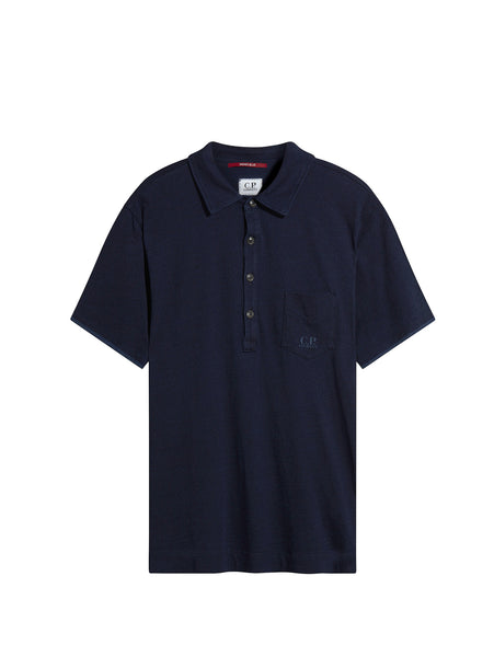 C.P. Company Short Sleeve Pocket Logo Polo Shirt in Navy