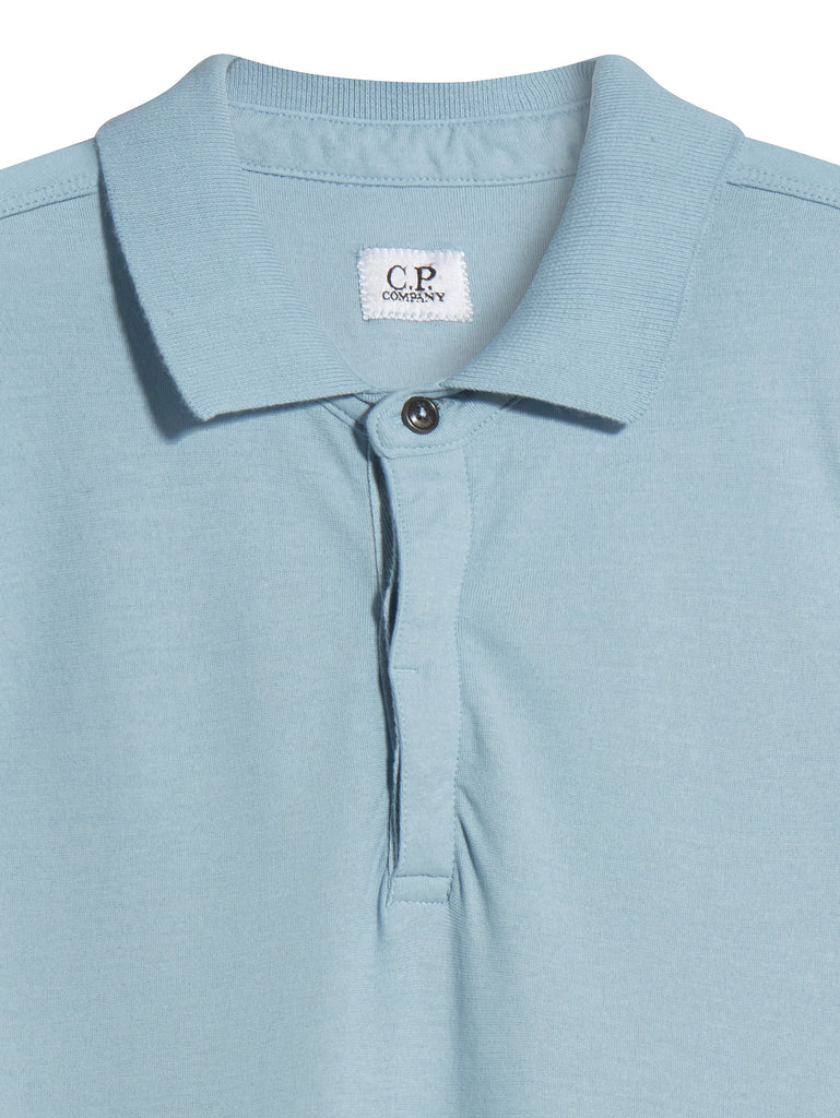 C.P. Company Short Sleeve Crepe Jersey Polo Shirt in Light Blue