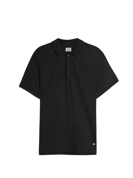 C.P. Company Short Sleeve Crepe Jersey Polo Shirt in Black