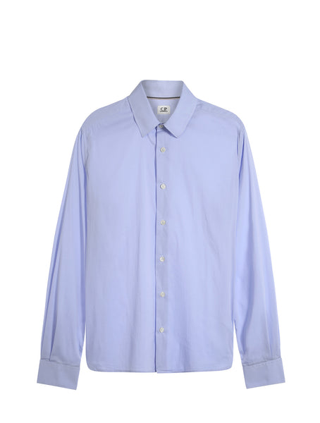 C.P. Company Stretch Poplin LS Shirt in Blue