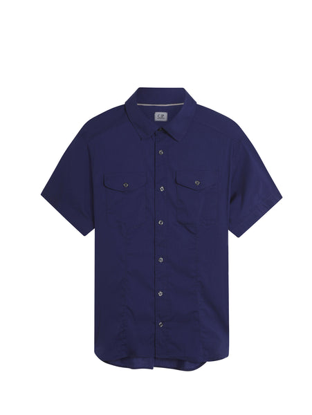 C.P. Company Stretch Poplin SS Shirt in Blue