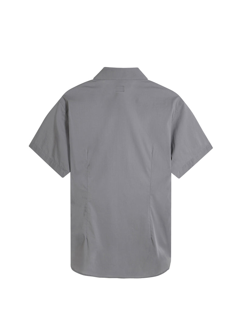 C.P. Company Stretch Poplin SS Shirt in Grey