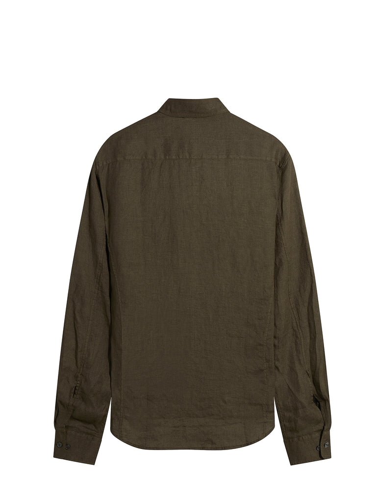 C.P. Company Long Sleeve Military Shirt in Green