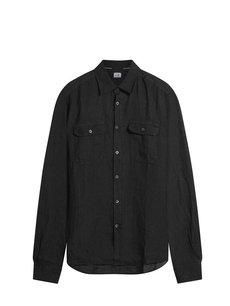 C.P. Company Long Sleeve Military Shirt in Black