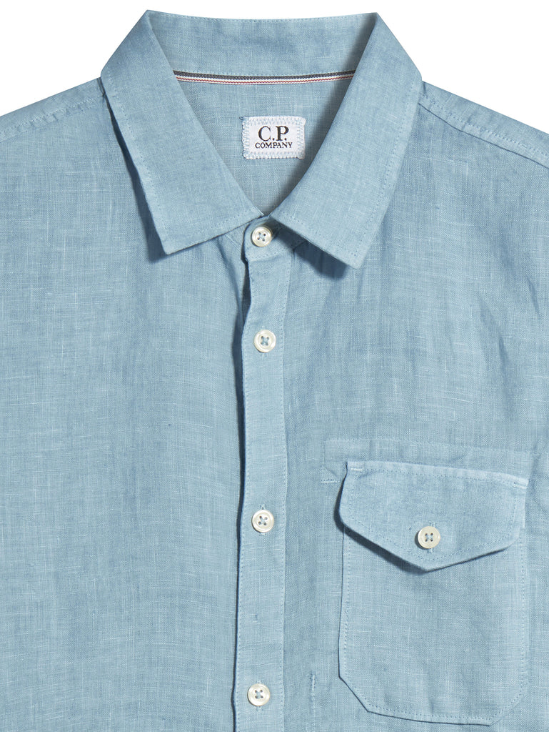 C.P. Company Short Sleeve Linen Pocket Shirt in Light Blue