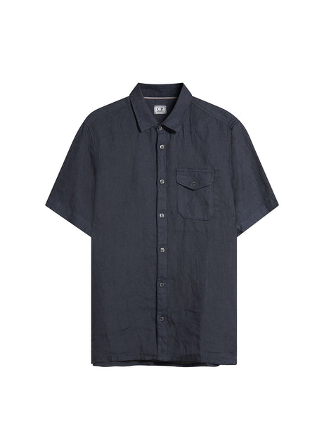 C.P. Company Short Sleeve Linen Pocket Shirt in Blue