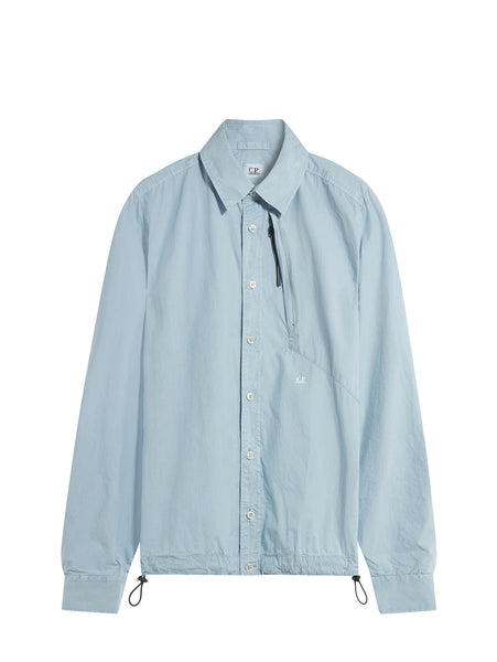 C.P. Company Long Sleeve Poplin Shirt in Light Blue