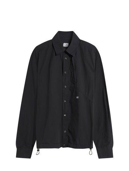 C.P. Company Long Sleeve Poplin Shirt in Navy