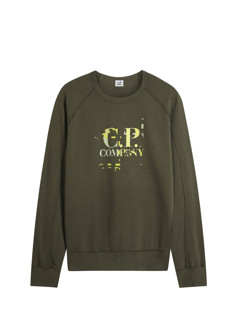 C.P. Company Garment Dyed Light Fleece Digital Logo Sweatshirt in Green