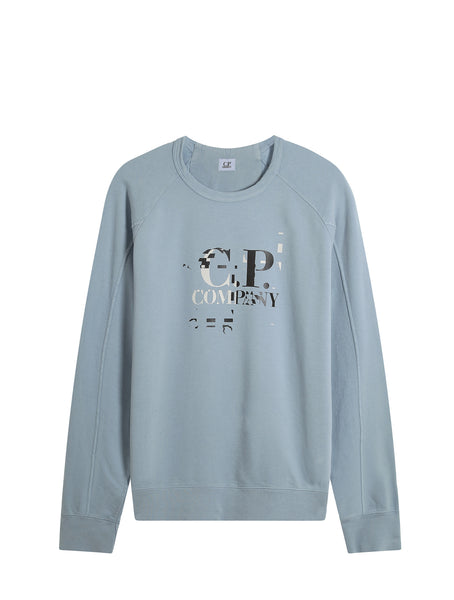 C.P. Company Garment Dyed Light Fleece Digital Logo Sweatshirt in Light Blue