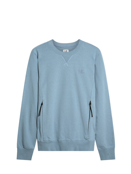 C.P. Company Diagonal Fleece Sweatshirt in Light Blue