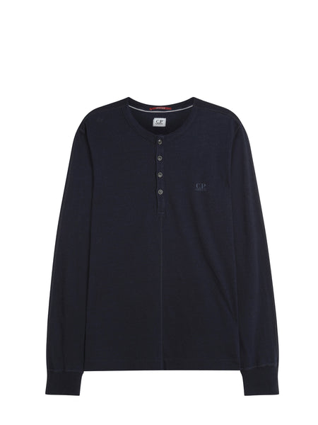 C.P. Company Long Sleeve Henley in Navy