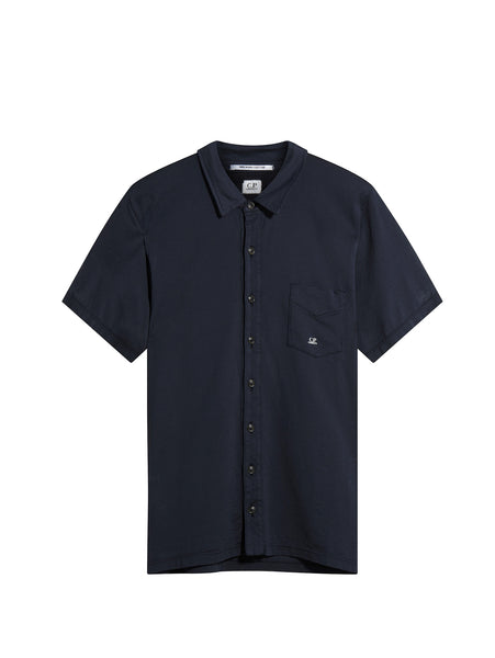 C.P. Company Short Sleeve Button Pocket Shirt in Navy