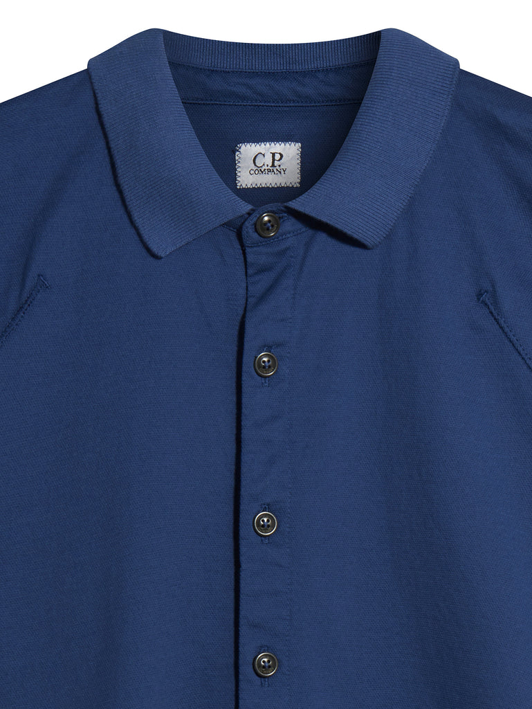 C.P. Company Short Sleeve Button Shirt in Blue