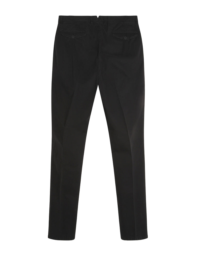 C.P. Company Old Dyed Cotton Gaberdine Slim Fit Trousers in Black