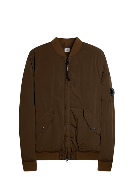 Nycra Lens Bomber Jacket in Brown