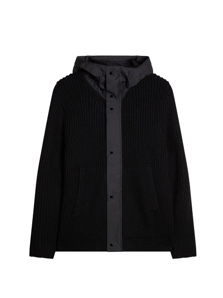 Mixed Fabric Goggle Knit Jacket in Black