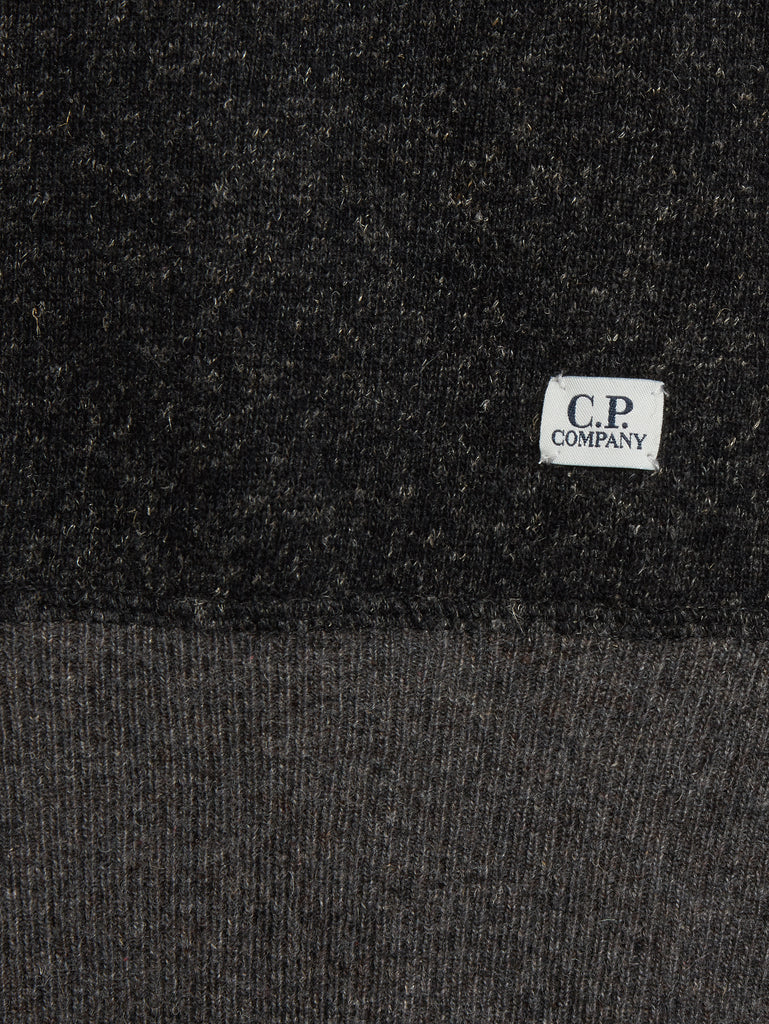 Contrast Collar Knit Crew Neck in Charcoal