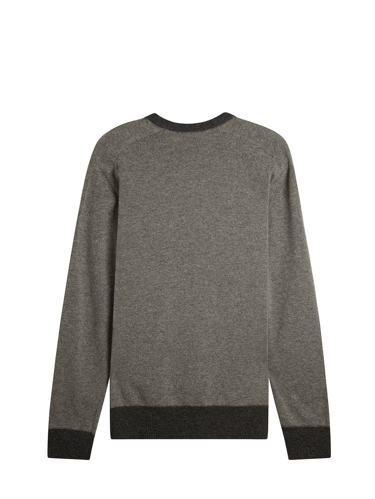 Contrast Collar Knit Crew Neck in Grey