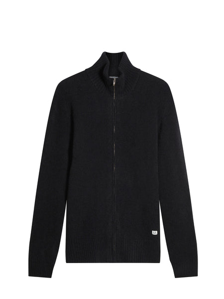 Wool Zipped Funnel Neck Cardigan in Black