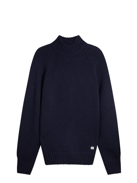 Knitted Turtle Neck Sweater in Navy