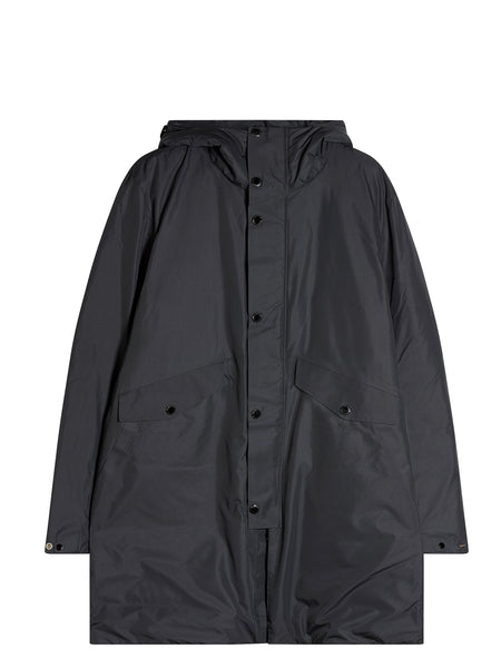 Micro-M Long Parka Jacket in Black