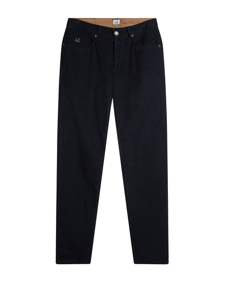 Garment Dyed Five-Pocket Needlecord Trousers in Navy