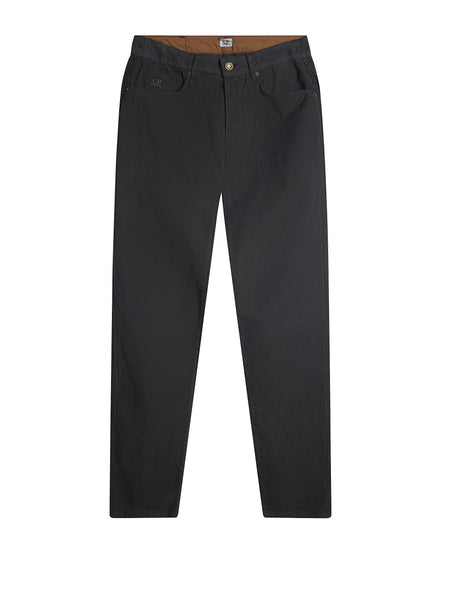 Garment Dyed Five-Pocket Needlecord Trousers in Charcoal