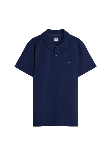 Cotton Pique Regular-Fit Polo Shirt in Ink Blue