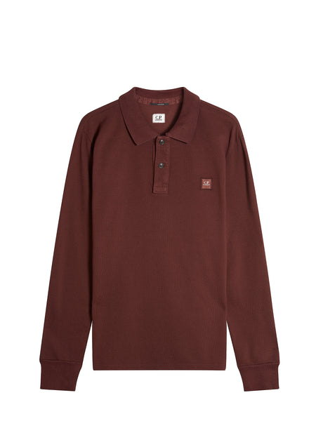 Long Sleeve Cotton Pique Regular-Fit Polo Shirt in Wine
