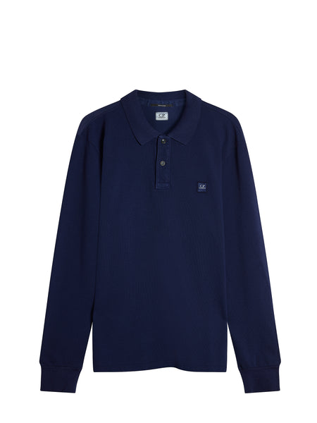 Long Sleeve Cotton Pique Regular-Fit Polo Shirt in Ink Blue