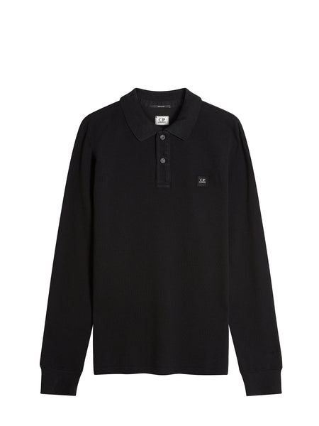 Long Sleeve Cotton Pique Regular-Fit Polo Shirt in Black