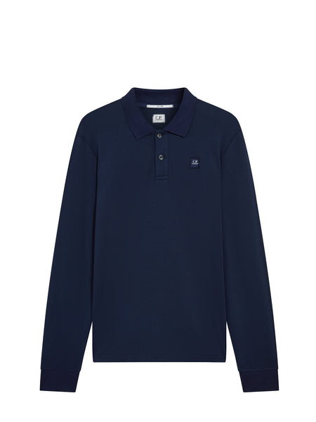 Long Sleeve Tacting Pique Polo in Navy