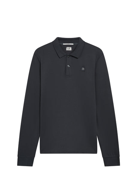 Long Sleeve Tacting Pique Polo in Black