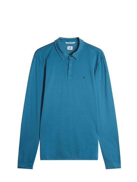 Jersey Cotton Long Sleeve Polo Shirt in Blue