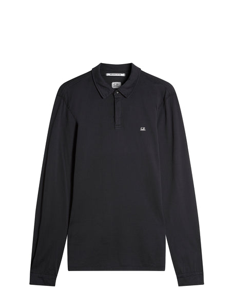 Jersey Cotton Long Sleeve Polo Shirt in Black