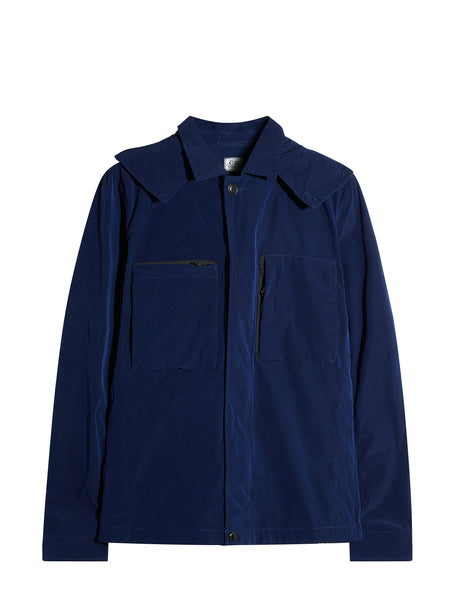 Microfibre Light Goggle Hood Overshirt in Blue