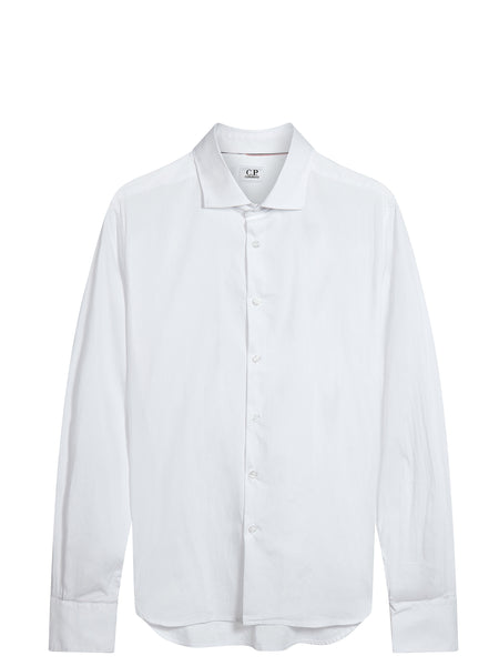 Long Sleeve Poplin Shirt in White
