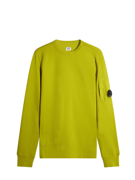 C.P. Company Garment Dyed Light Fleece Lens Sweatshirt in Yellow