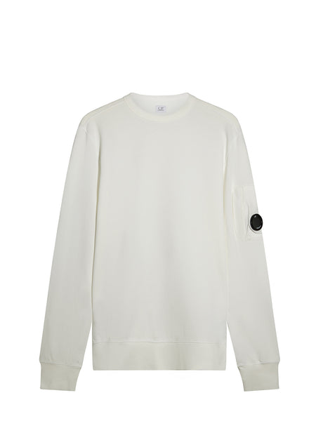 C.P. Company Garment Dyed Light Fleece Lens Sweatshirt in White
