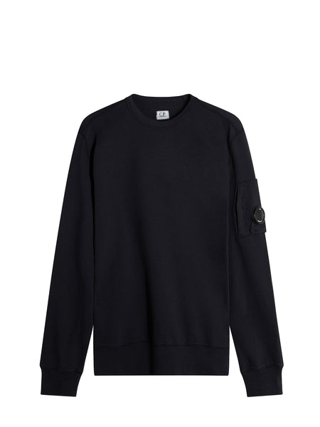 C.P. Company Garment Dyed Light Fleece Lens Sweatshirt in Navy