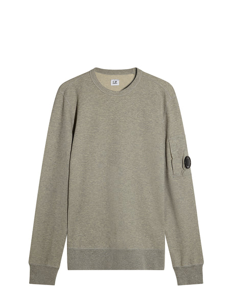 C.P. Company Garment Dyed Light Fleece Lens Sweatshirt in Grey