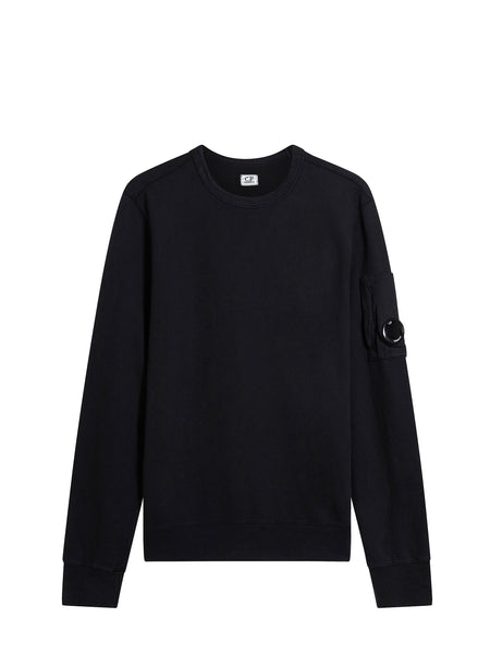 C.P. Company Garment Dyed Light Fleece Lens Sweatshirt in Black