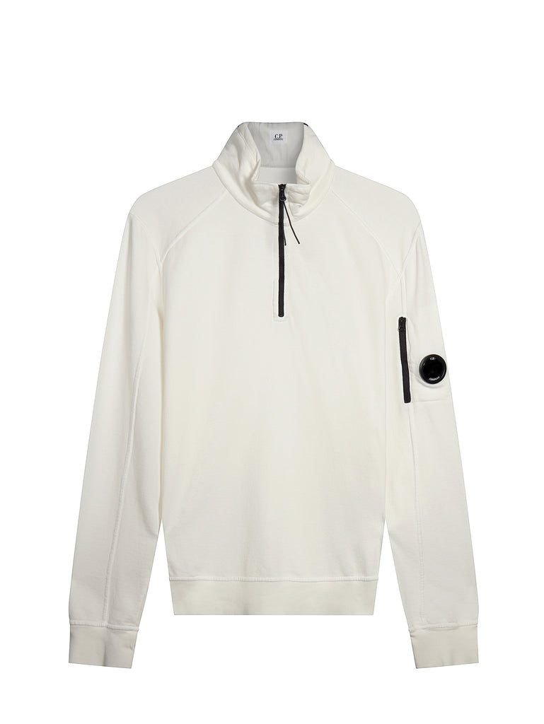 Garment Dyed Quarter Zip Sweatshirt in White