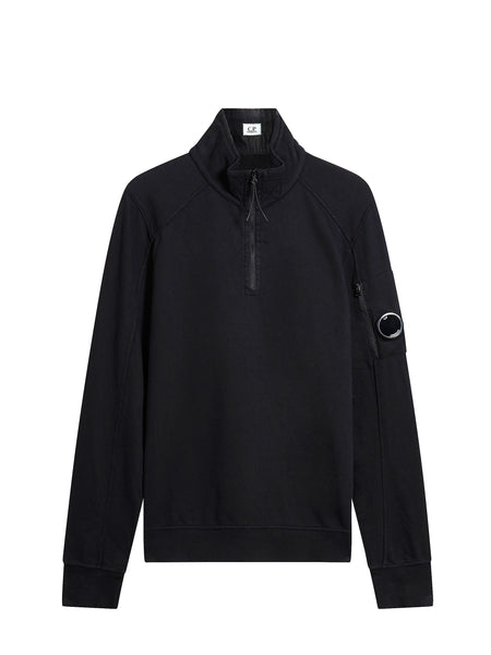 Garment Dyed Quarter Zip Sweatshirt in Black