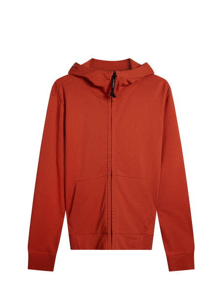 Diagonal Fleece Goggle Hooded Sweatshirt in Orange