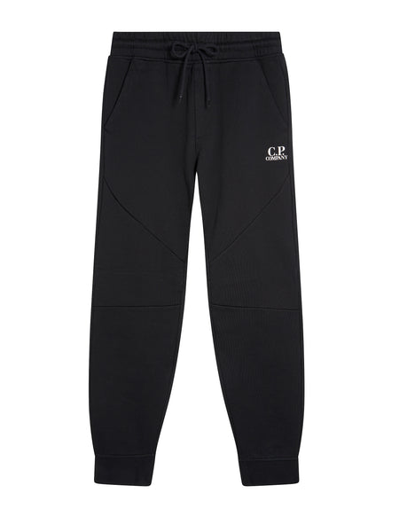 DIAGONAL FLEECE JOGGING PANTS in Black